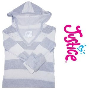 Justice Girls Striped Hoodie Pullover Sweater 8